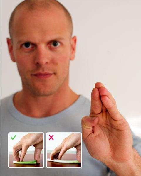 Tim demonstrating proper finger position.