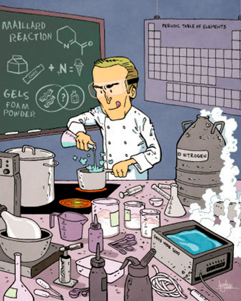illustrated chemist in lab.